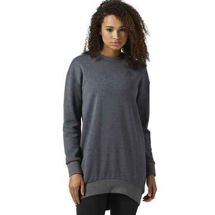 Reebok Classics Women's Casual Oversized Sweatshirt in Dark Grey Heather