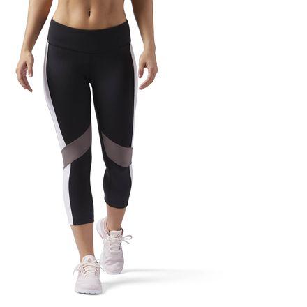 Reebok Lux Color Block Women's Training Capri Leggings in Black