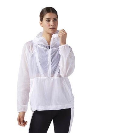 Reebok Packable Women's Training Hooded Windbreaker in White
