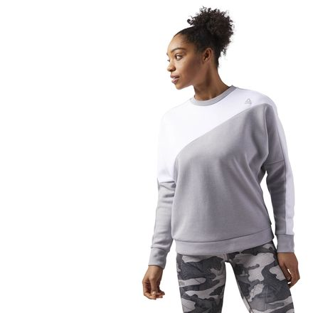 Reebok Quik Cotton Women's Training Crew Neck Sweatshirt in Medium Solid Grey