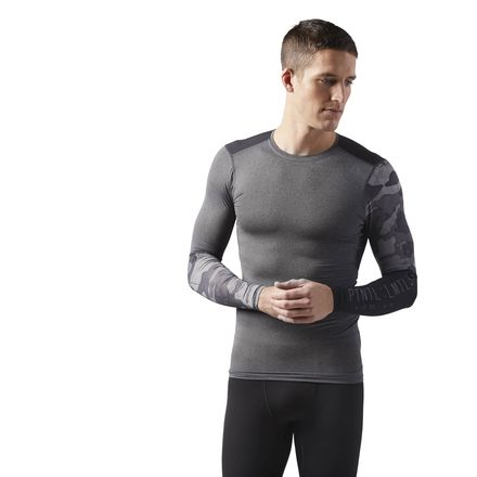 Reebok ACTIVCHILL Graphic Long Sleeve Compression Men's Training Shirt in Dark Grey
