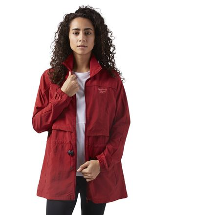 Reebok Women's Casual Crinkle Woven Windbreaker in Rich Magma Red