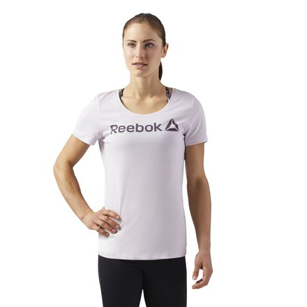 Reebok Linear Read Scoop Neck Tee Women's Training T-Shirt in Quartz Purple