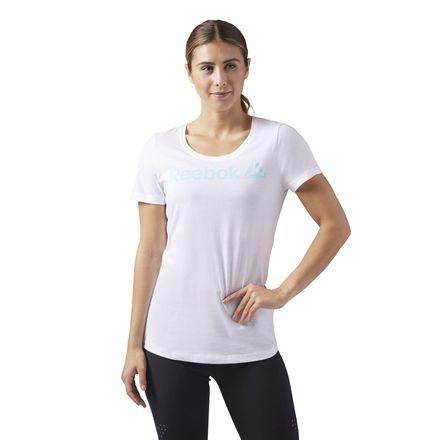Reebok Linear Read Scoop Neck Tee Women's Training T-Shirt in White