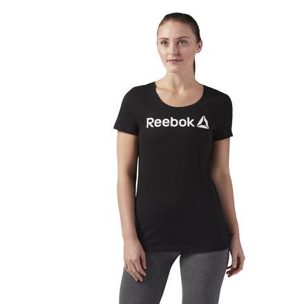 Reebok Linear Read Scoop Neck Tee Women's Training T-Shirt in Black