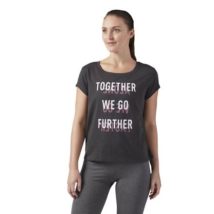 Reebok Further Together Easy Women's Training T-Shirt in Coal