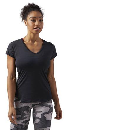 Reebok ACTIVCHILL Women's V-Neck Training T-Shirt in Black
