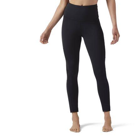 Reebok High-Waisted Mesh Legging Women's Studio Tights in Black