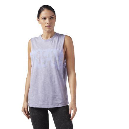 Reebok Organic Women's Yoga Cotton Muscle Tank Top in Purple Fog