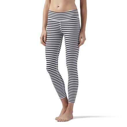 Reebok Striped Women's Yoga, Studio 7/8 Leggings in White / Black