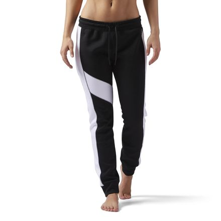 Reebok Quik Cotton Women's Training Jogger Pants in Black / White