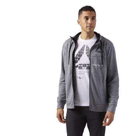 Reebok Speedwick Full-Zip Gym Hoodie Men's Training Jacket in Grey