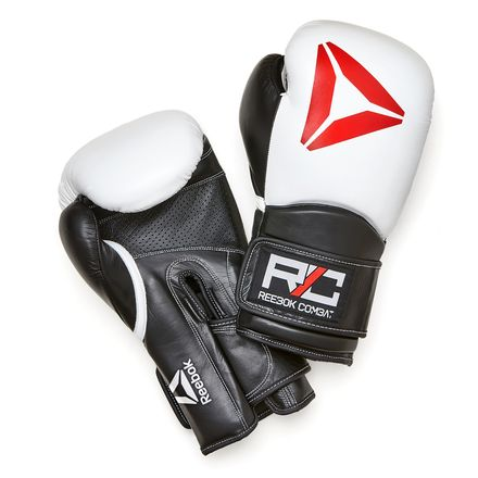Reebok Unisex Training Combat Leather Gloves in White / Black