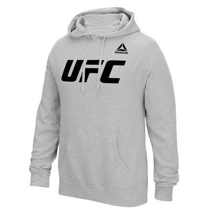 Reebok UFC Essential Logo Men's Training Pullover Fleece Hoodie in Heather Grey