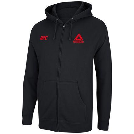 Reebok UFC Essential Logo Men's Training Full Zip Fleece Hoodie in Black