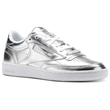 Reebok Club C 85 S Shine Women's Court Sneakers Shoes in Metallic Silver / White