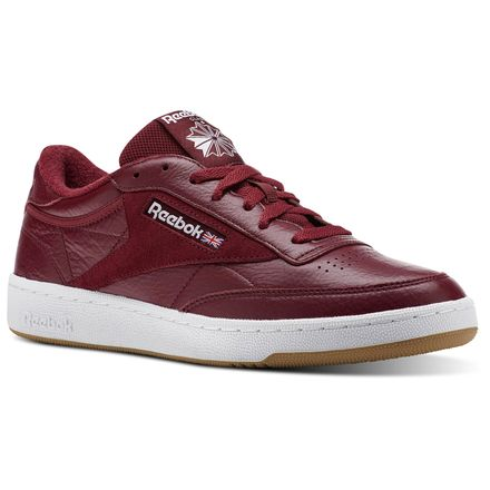 Reebok Club C 85 ESTL Men's Leather Court Shoes in Urban Maroon / White / Washed Blue-Gum