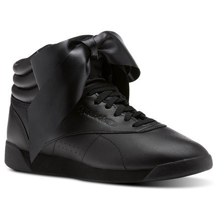 Reebok Freestyle Hi Satin Bow Women's Fitness Shoes in Black / Skull Grey