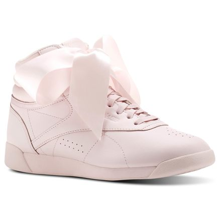 Reebok Freestyle Hi Satin Bow Women's Fitness Shoes in Porcelain Pink / Skull Grey