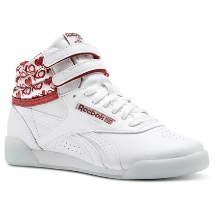Reebok Freestyle HI Valentine's Day Girls Fitness Shoes in White / Power Red / Silver Metallic