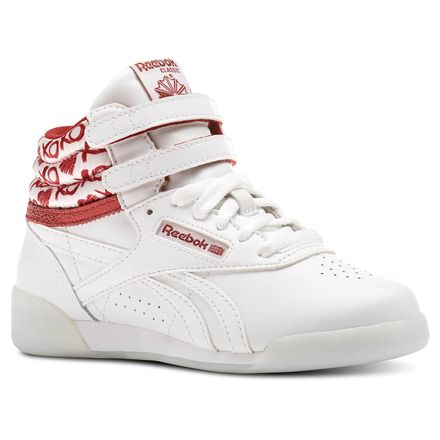 Reebok Freestyle HI Hearts Girls Fitness Shoes in White / Power Red / Silver Metallic