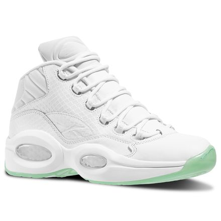 Reebok Question Mid EE Unisex Basketball Shoes in White / Mint Glow