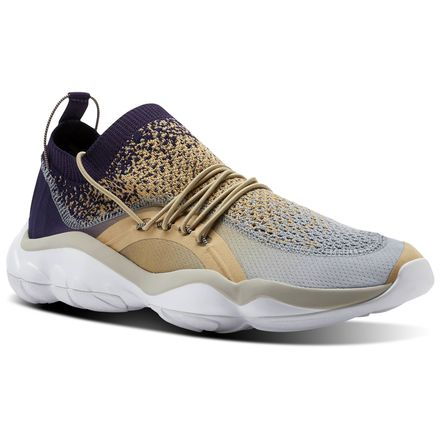 Reebok DMX Fusion Unisex Retro Running Shoes in Beige / Flint Grey / Purple Ink / Sand Stone