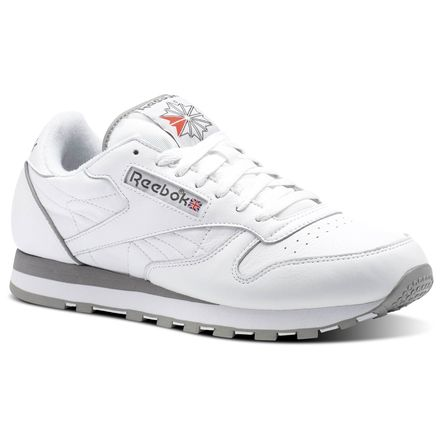 Reebok Classic Leather ARCHIVE Men's Retro Running Shoes in White / Carbon / Red / Grey