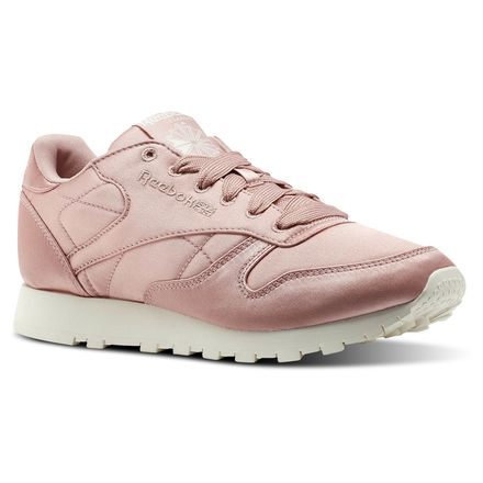 Reebok Classic Leather Satin Women's Retro Running Shoes in Chalk Pink / Classic White