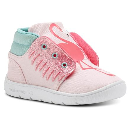 Reebok Chukka Critter Feet Kids Casual Shoes in Luster Pink / Acid Pink / White / Turquoise