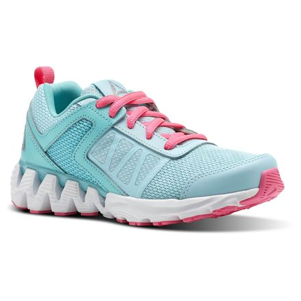 Reebok Zig Kick 2K18 Pre-School Kids Running Shoes in Blue Lagoon / Turquoise / Acid Pink / White