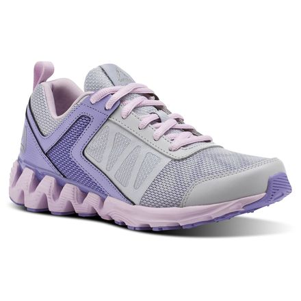 Reebok Zig Kick 2K18 Grade School Kids Running Shoes in Cloud Grey / Lush Orchid / Moon Glow / White