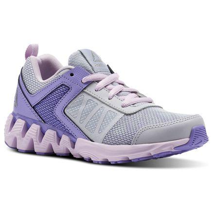 Reebok Zig Kick 2K18 Kids Running Shoes in Cloud Grey / Lush Orchid / Moonglow / White