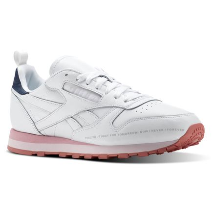 Reebok Classic Leather Publish Men's Retro Running Shoes in White / Steel / Porcelain Pink / Blue / Quiet