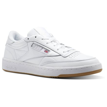 Reebok Club C 85 ESTL Unisex Court Shoes in White / Washed Blue-Gum