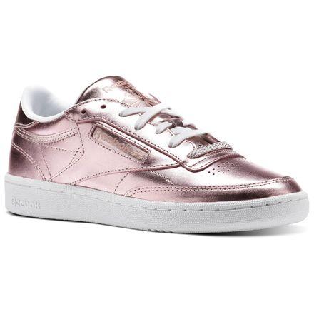 Reebok Club C 85 S Shine Women's Court Sneakers Shoes in Metallic Copper / White