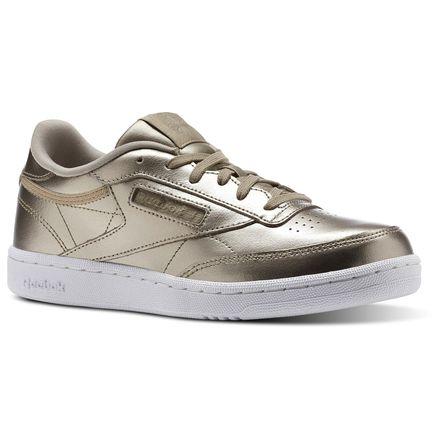 Reebok Club C Melted Metallic - Grade School Kids Tennis Sneakers Shoes in Grey Gold / White