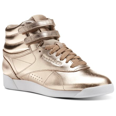 Reebok Freestyle Hi Metallic Women's Fitness Shoes in Rose Gold / White / Silver Peony