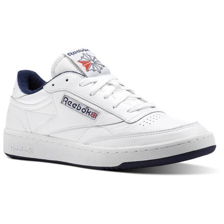 Reebok Club C 85 ARCHIVE Unisex Court Shoes in White / Collegiate Navy / Excellent Red