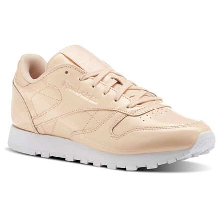 Reebok Classic Leather PATENT Women's Retro Running Shoes in Desert Dust / White