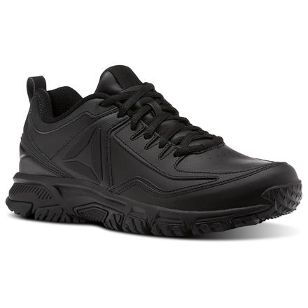 Reebok Ridgerider Leather 4E Men's Walking Shoes in Black