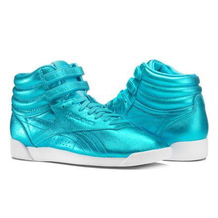Reebok Freestyle Hi Metallic Women's Fitness Shoes in Feather Blue / White
