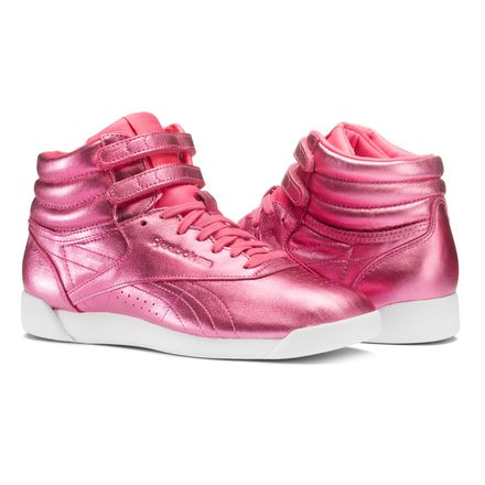 Reebok Freestyle Hi Metallic Women's Fitness Shoes in Sharp Pink / White
