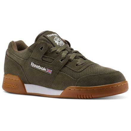 Reebok WORKOUT PLUS EG Unisex Training Shoes in Army Green / White / Gum