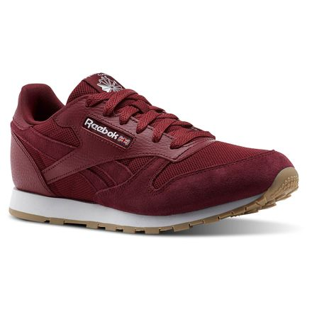 Reebok Classic Leather ESTL Kids Retro Running Shoes in Urban Maroon / White
