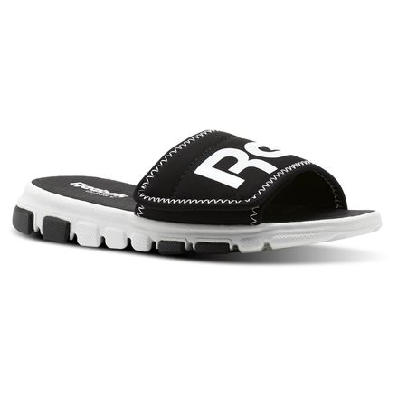 Reebok Classic Kids Slide Sandals in Black / White