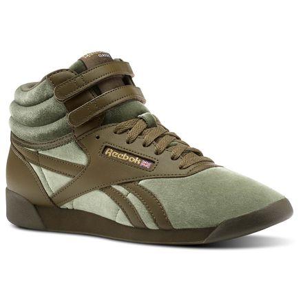 Reebok Freestyle Hi Velvet Sneaker - Grade School Kids Fitness Shoes in Army Green / Gold