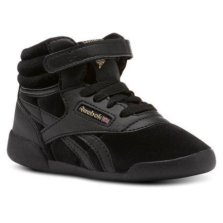 db4e78f37cda Reebok Freestyle Hi Velvet Sneaker - Infant   Toddler Fitness Shoes in Black    Gold