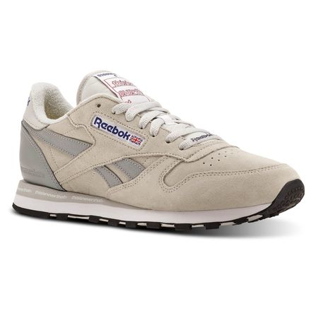 Reebok CL LEATHER THIS Men's Retro Running Shoes in Steel / Flat Grey / White / Cobalt / Excellent Red