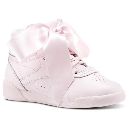 ef2f5cadb556 Reebok Freestyle HI Satin Bow Kids Fitness Shoes in Porcelain Pink   Skull  Grey